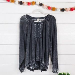 Free People • Acacia Dolman Sleeve Henley Blouse